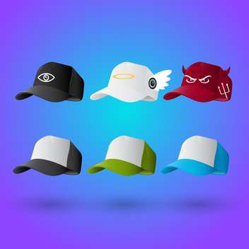 set of baseball caps background - vector gratuit #132585