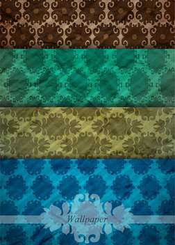 retro damask wallpaper set backgrounds - vector gratuit #132615