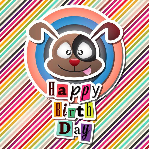 Happy Birthday Card With Funny Dog Free Vector Download 132635