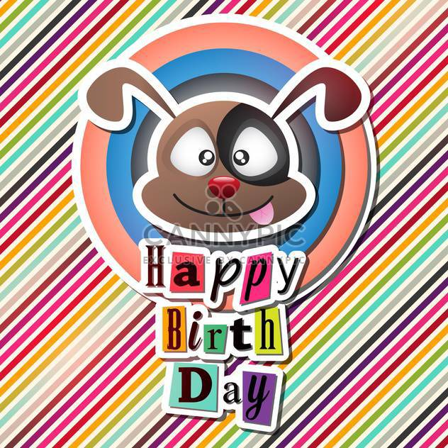 happy birthday card with funny dog - Free vector #132635