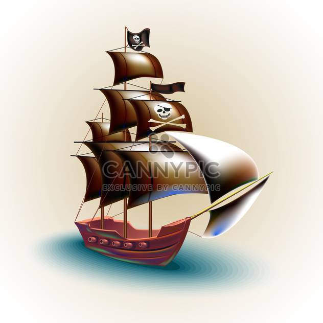 Piraten-Schiff-Vektor-illustration - Kostenloses vector #132665