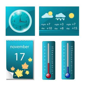 web icons with weather, clock and calendar - бесплатный vector #132825