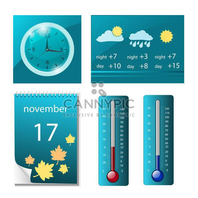 web icons with weather, clock and calendar - Free vector #132825