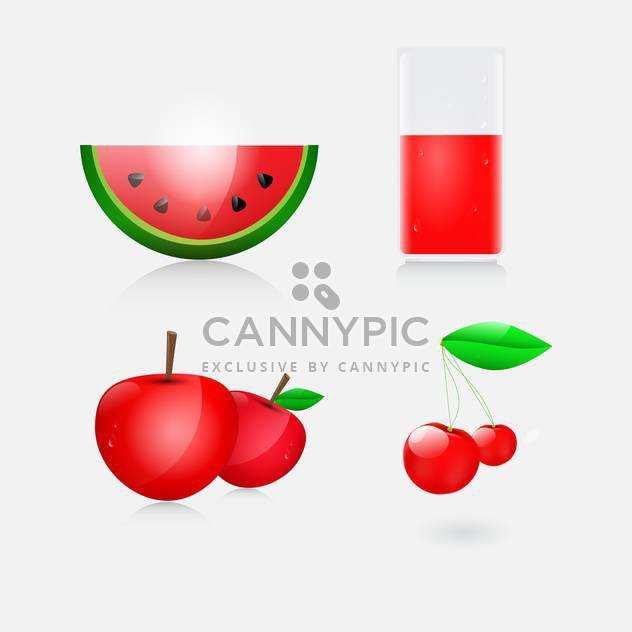 illustration of juice, watermelon, apples and cherry - Free vector #132885