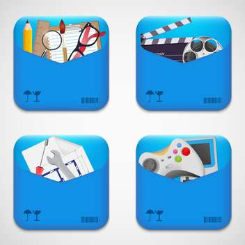 folder icons set background - vector gratuit #132975
