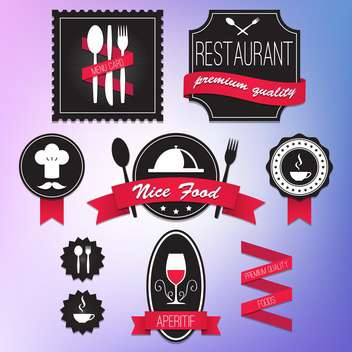 collection of retro restaurant labels - vector gratuit #132995