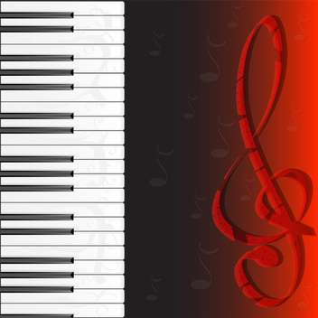 piano keybard and treble clef - vector #133105 gratis
