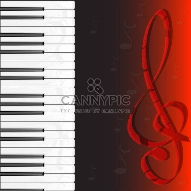 piano keybard and treble clef - Free vector #133105