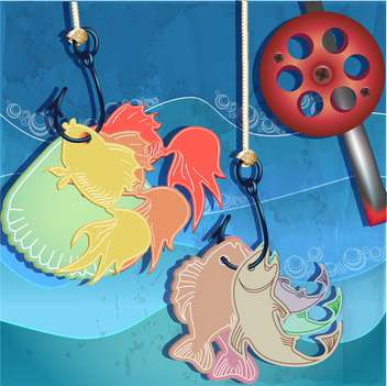 fishing in sea water background - vector gratuit #133335
