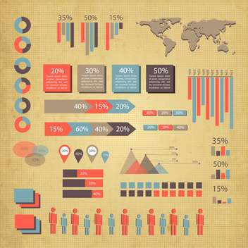 business infographics set with world map - vector #133425 gratis