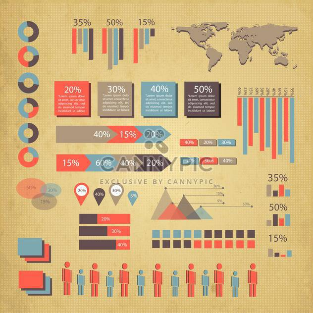 business infographics set with world map - Free vector #133425