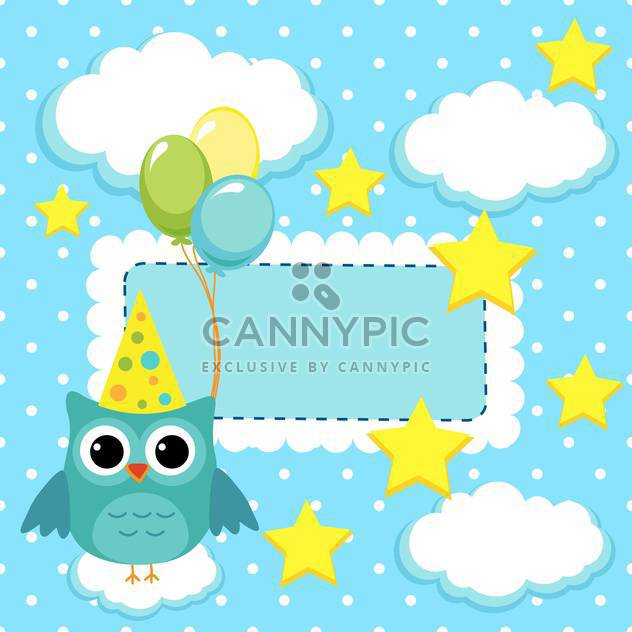 owl with balloons on card background - Kostenloses vector #133795