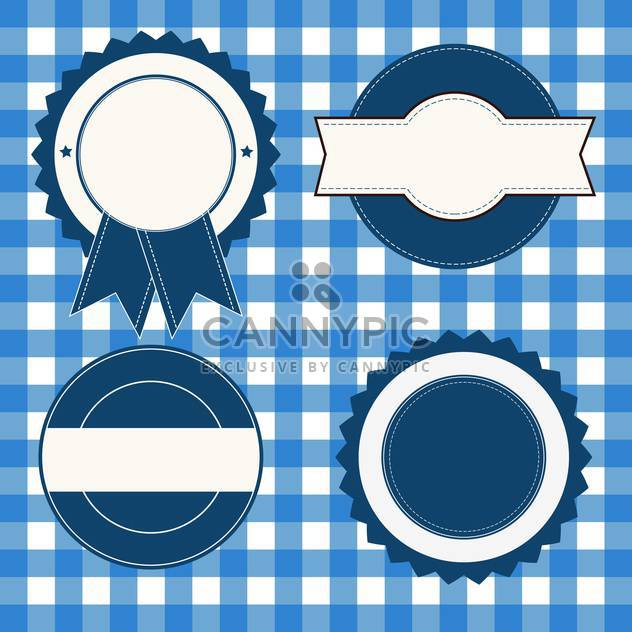 set of advertising blue and white labels - Free vector #133815