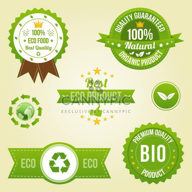 eco labels in retro design style - Free vector #134025