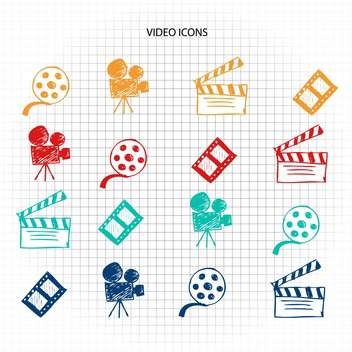video icons sketch set - vector gratuit #134335
