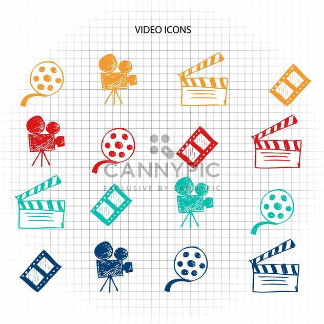 video icons sketch set - Free vector #134335
