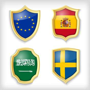 set of shields with different countries stylized flags - Free vector #134515