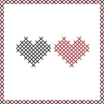 embroidered valentine hearts background - vector gratuit #134855
