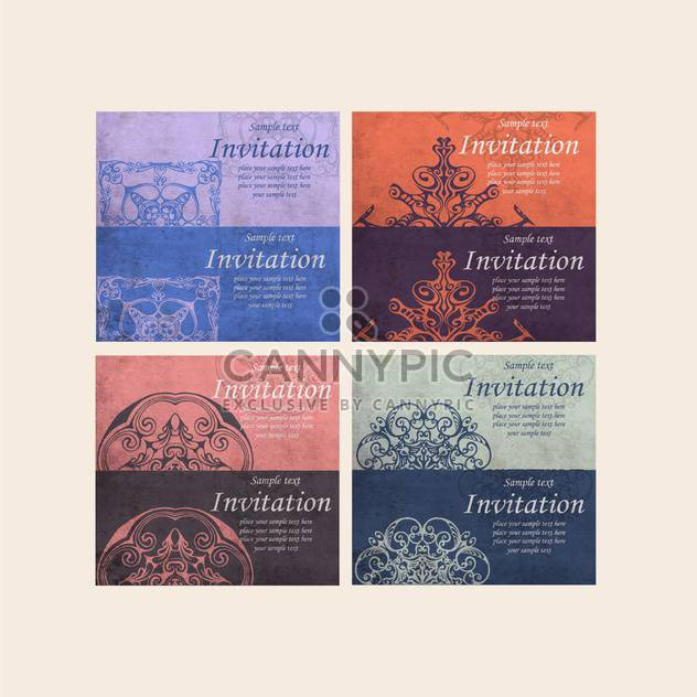 set of retro cards for invitation - Free vector #134965