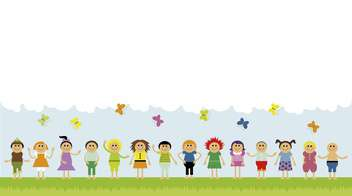 children on green field with clouds and butterflies - vector gratuit #135045
