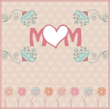 mother's day greeting card with spring flowers illustration - Free vector #135055