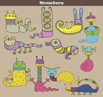 banner with multicolored cartoon monsters - vector gratuit #135075