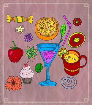 cocktail and various fruits vector illustration - бесплатный vector #135155