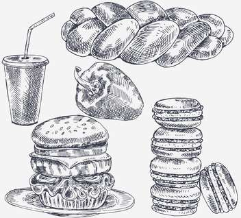 sketch tasty hamburgers in vintage style - Kostenloses vector #135175