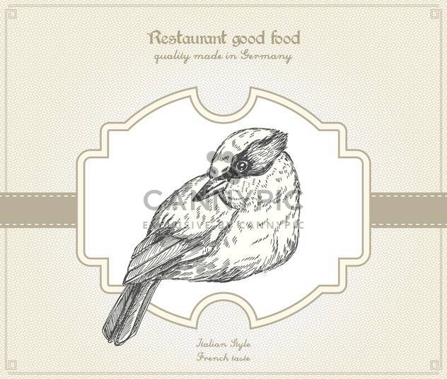 Retro style restaurant card with bird - Free vector #135245