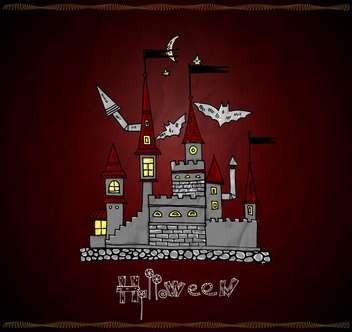 Halloween vector card with haunted castle - vector gratuit #135285