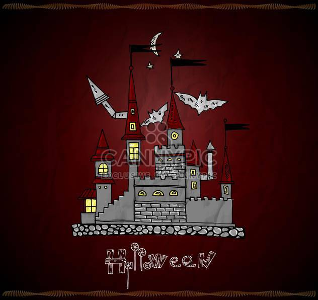 Halloween vector card with haunted castle - Free vector #135285