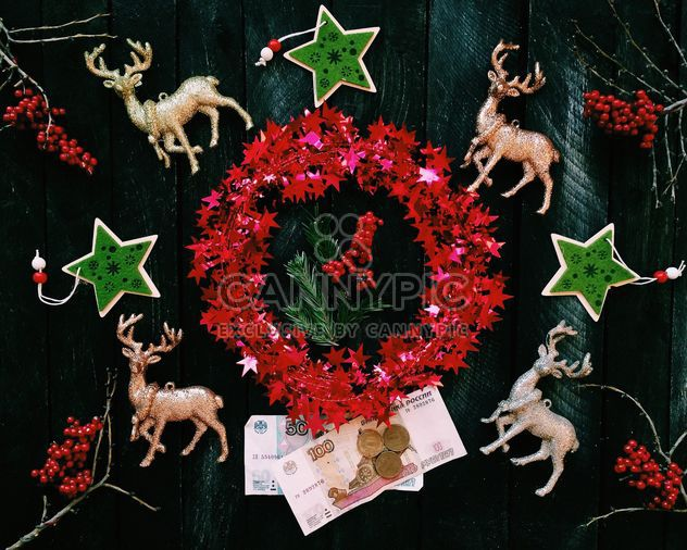 Christmas decorations and money - Free image #136295