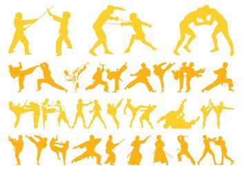 Martial Arts Silhouettes Graphics - Free vector #139005