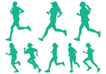 Running People Set - vector gratuit #139025