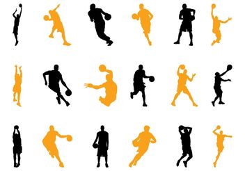 Basketball Players Silhouettes Pack - Free vector #139035