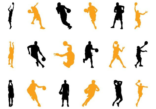 Basketball Players Silhouettes Pack - vector gratuit #139035