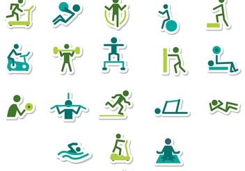 Fitness Stick Figure Icons Vector Pack - Free vector #139125