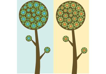 Flowered Trees - vector gratuit #139225