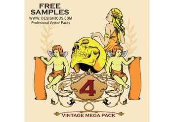 Vintage Mega Pack 4 free samples - Free vector #139255