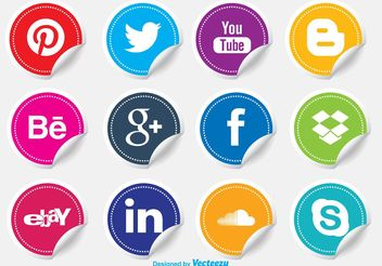 Social Media Icon Stickers - vector gratuit #140095