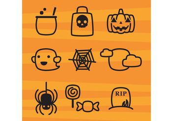 Cute Halloween Icons - vector gratuit #140255