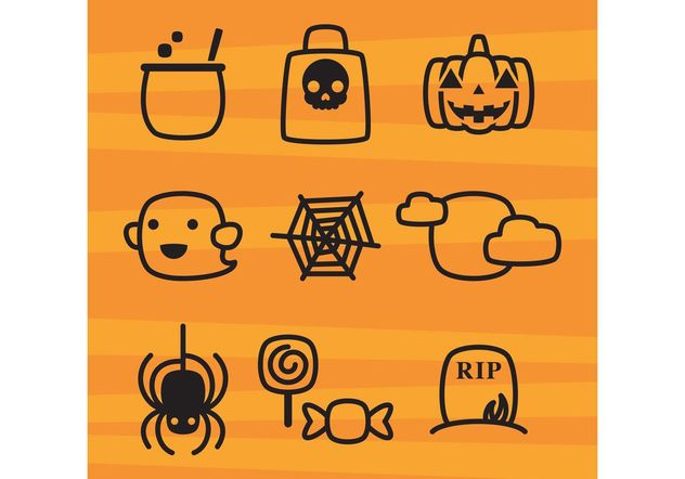 Cute Halloween Icons - Free vector #140255