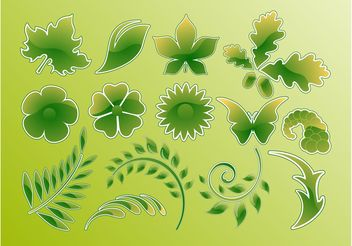 Green Glossy Vector Leaves - vector gratuit #140505