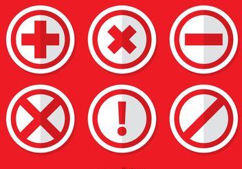 Red Cancelled Icon Vectors Pack - Free vector #140775