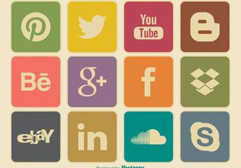 Retro Style Social Media Icon Set - Free vector #140845