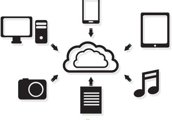 Cloud Computing Concept In Black And White Vector - бесплатный vector #140885