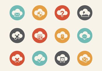 Free Retro Cloud Computing Vector Icons - Free vector #140895