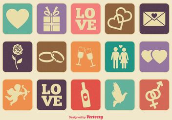 Retro Style Love Icons Set - Free vector #140905
