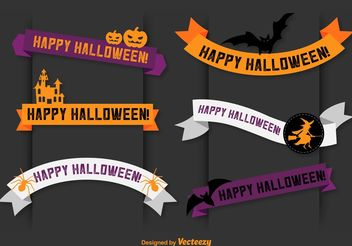 Happy Halloween Vector Banner Ribbons - vector gratuit #141075