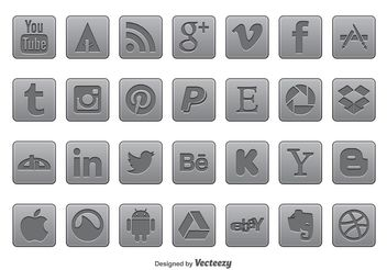 Gray Social Media Icon Set - vector gratuit #141095